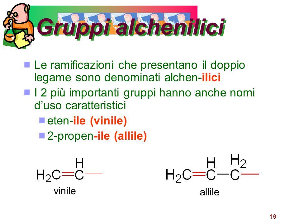 19 Gruppi alchenilici Le ramificazioni che presentano il doppio legame sono denominati alchen-ilici I 2 più importanti gruppi hanno anche nomi duso ca