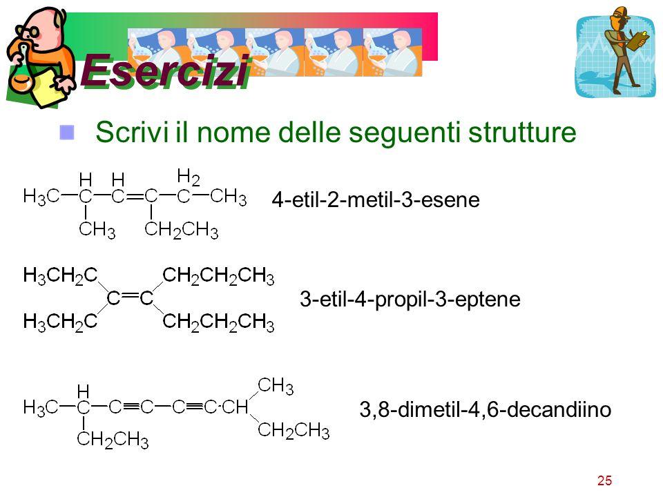 25 Esercizi Scrivi il nome delle seguenti strutture 4-etil-2-metil-3-esene 3-etil-4-propil-3-eptene 3,8-dimetil-4,6-decandiino