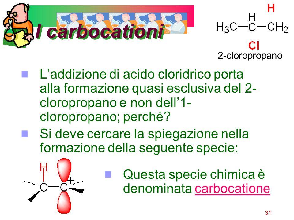 31 I carbocationi Laddizione di acido cloridrico porta alla formazione quasi esclusiva del 2- cloropropano e non dell1- cloropropano; perché? Si deve
