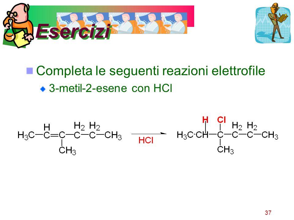37 Esercizi Completa le seguenti reazioni elettrofile 3-metil-2-esene con HCl