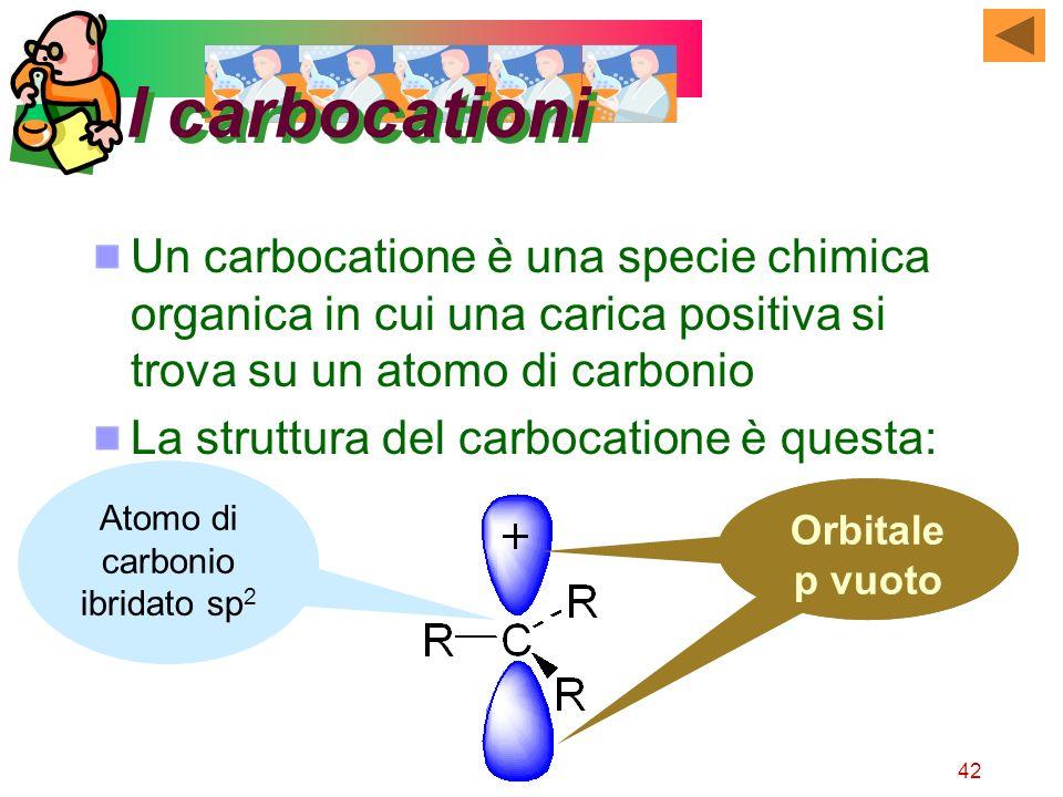 42 I carbocationi Un carbocatione è una specie chimica organica in cui una carica positiva si trova su un atomo di carbonio La struttura del carbocati