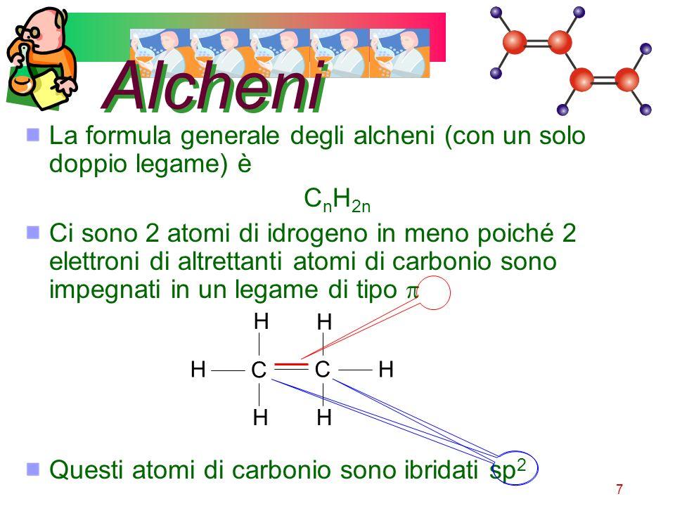 7 Alcheni La formula generale degli alcheni (con un solo doppio legame) è C n H 2n Ci sono 2 atomi di idrogeno in meno poiché 2 elettroni di altrettan