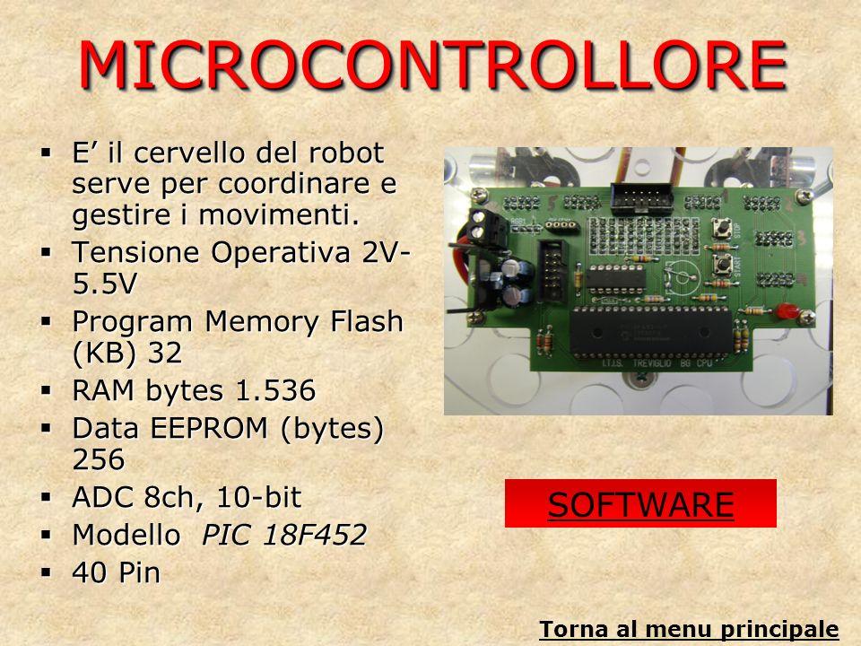 MICROCONTROLLOREMICROCONTROLLORE E il cervello del robot serve per coordinare e gestire i movimenti. E il cervello del robot serve per coordinare e ge