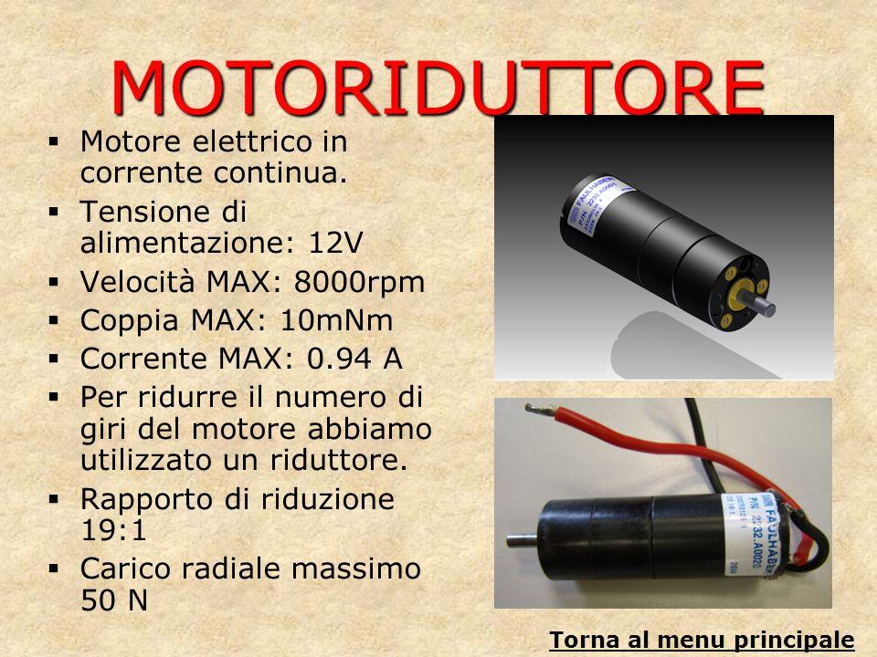 MOTORIDUTTORE Motore elettrico in corrente continua. Tensione di alimentazione: 12V Velocità MAX: 8000rpm Coppia MAX: 10mNm Corrente MAX: 0.94 A Per r