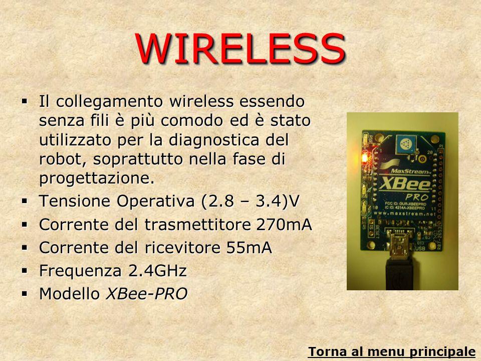 WIRELESSWIRELESS Il collegamento wireless essendo senza fili è più comodo ed è stato utilizzato per la diagnostica del robot, soprattutto nella fase d