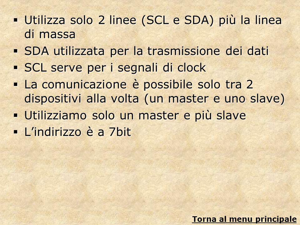 Utilizza solo 2 linee (SCL e SDA) più la linea di massa Utilizza solo 2 linee (SCL e SDA) più la linea di massa SDA utilizzata per la trasmissione dei