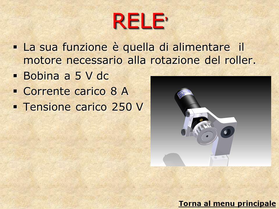 RELE RELE La sua funzione è quella di alimentare il motore necessario alla rotazione del roller. La sua funzione è quella di alimentare il motore nece
