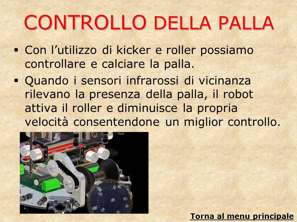 CONTROLLO DELLA PALLA Con lutilizzo di kicker e roller possiamo controllare e calciare la palla. Quando i sensori infrarossi di vicinanza rilevano la