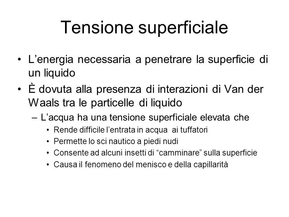Tensione superficiale Lenergia necessaria a penetrare la superficie di un liquido È dovuta alla presenza di interazioni di Van der Waals tra le partic