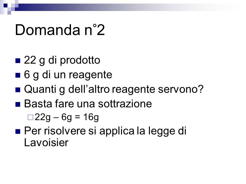 Domanda n°2 22 g di prodotto 6 g di un reagente Quanti g dellaltro reagente servono? Basta fare una sottrazione 22g – 6g = 16g Per risolvere si applic
