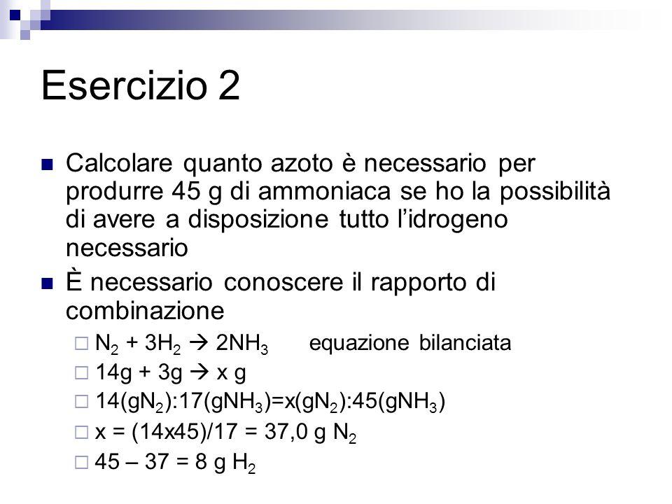 Esercizio 2 Calcolare quanto azoto è necessario per produrre 45 g di ammoniaca se ho la possibilità di avere a disposizione tutto lidrogeno necessario È necessario conoscere il rapporto di combinazione N 2 + 3H 2 2NH 3 equazione bilanciata 14g + 3g x g 14(gN 2 ):17(gNH 3 )=x(gN 2 ):45(gNH 3 ) x = (14x45)/17 = 37,0 g N 2 45 – 37 = 8 g H 2