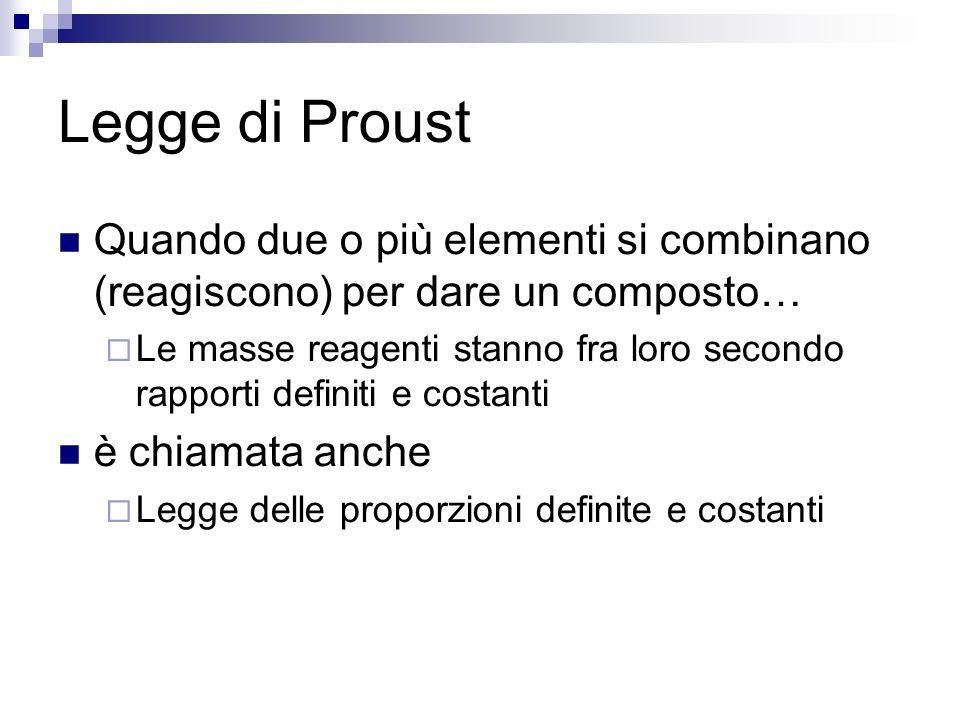 Legge di Proust Quando due o più elementi si combinano (reagiscono) per dare un composto… Le masse reagenti stanno fra loro secondo rapporti definiti e costanti è chiamata anche Legge delle proporzioni definite e costanti