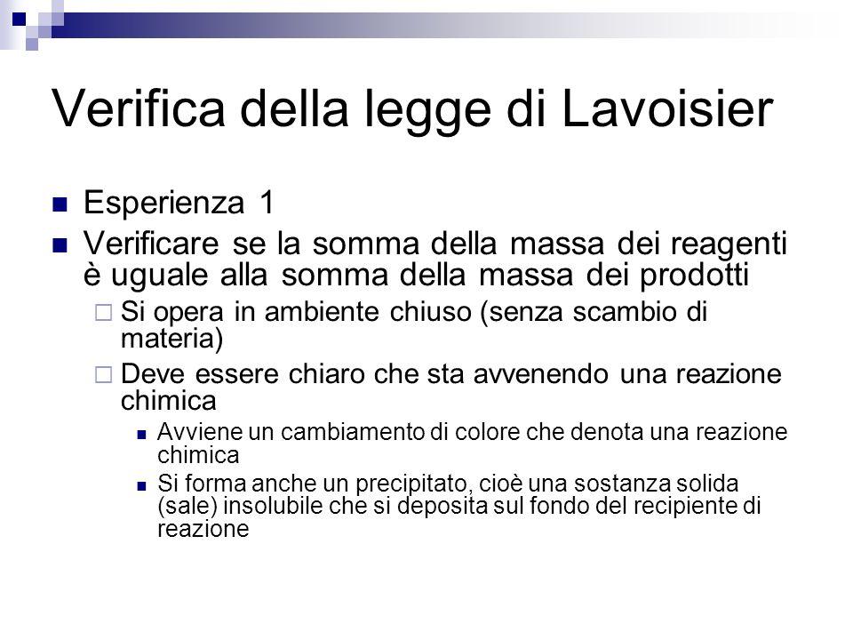 Conclusioni (prima esperienza) La legge di Lavoisier è stata dimostrata poiché la massa del sistema chiuso si è mantenuta costante nei limiti degli errori sperimentali Si è visto chiaramente che se non si opera con sistemi chiusi si incorre in errori significativi e non sempre è possibile accorgersi delle perdite di massa (gas)