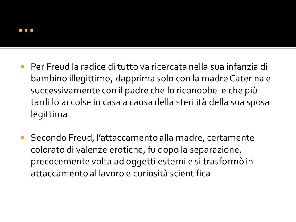 Per Freud la radice di tutto va ricercata nella sua infanzia di bambino illegittimo, dapprima solo con la madre Caterina e successivamente con il padr