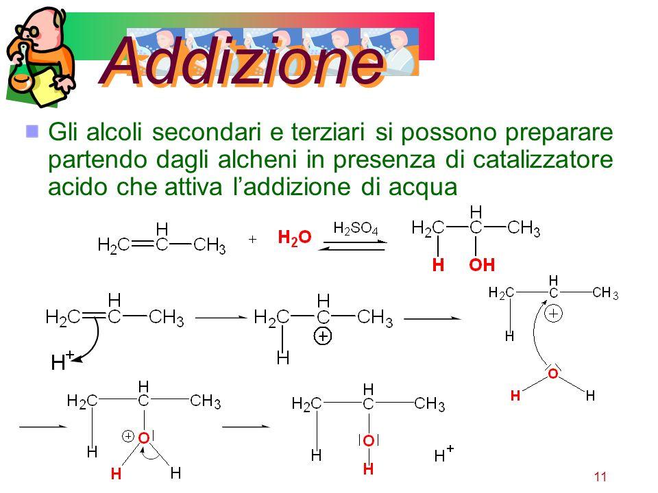 11 Addizione Gli alcoli secondari e terziari si possono preparare partendo dagli alcheni in presenza di catalizzatore acido che attiva laddizione di a
