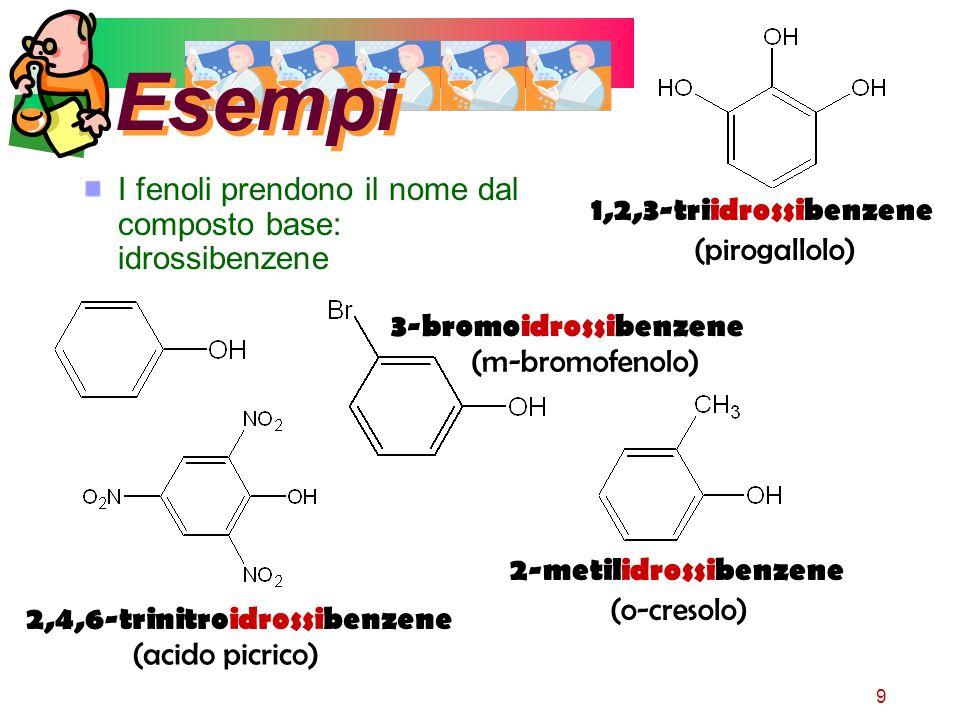 9 Esempi I fenoli prendono il nome dal composto base: idrossibenzene 3-bromoidrossibenzene (m-bromofenolo) 2,4,6-trinitroidrossibenzene (acido picrico