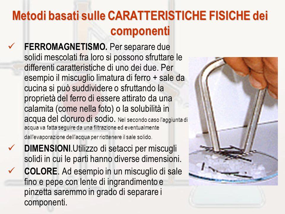 Metodi basati sulle CARATTERISTICHE FISICHE dei componenti FERROMAGNETISMO. Per separare due solidi mescolati fra loro si possono sfruttare le differe