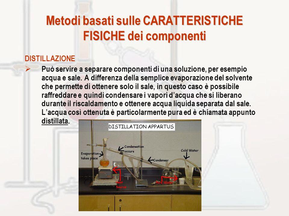 Metodi basati sulle CARATTERISTICHE FISICHE dei componenti DISTILLAZIONE Può servire a separare componenti di una soluzione, per esempio acqua e sale.