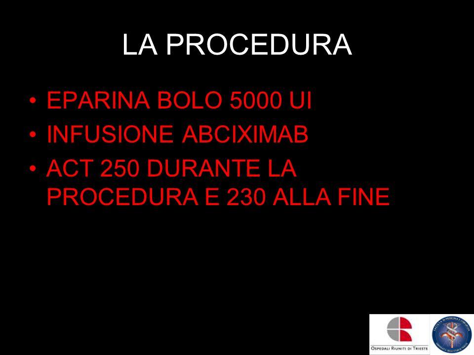 LA PROCEDURA EPARINA BOLO 5000 UI INFUSIONE ABCIXIMAB ACT 250 DURANTE LA PROCEDURA E 230 ALLA FINE