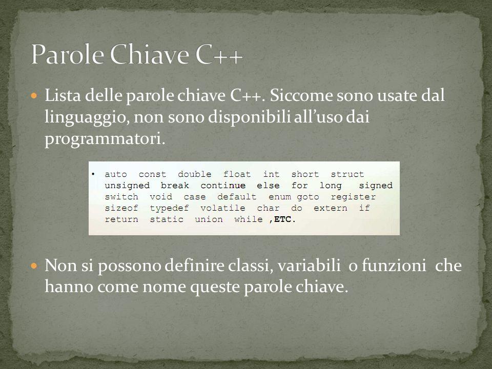 Lista delle parole chiave C++.