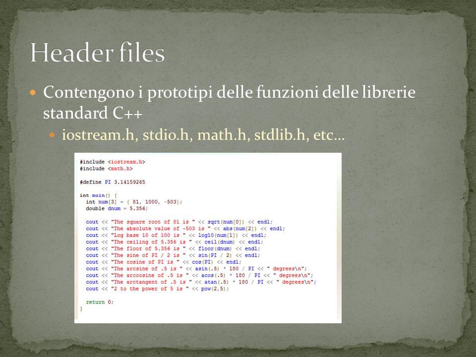 Contengono i prototipi delle funzioni delle librerie standard C++ iostream.h, stdio.h, math.h, stdlib.h, etc…