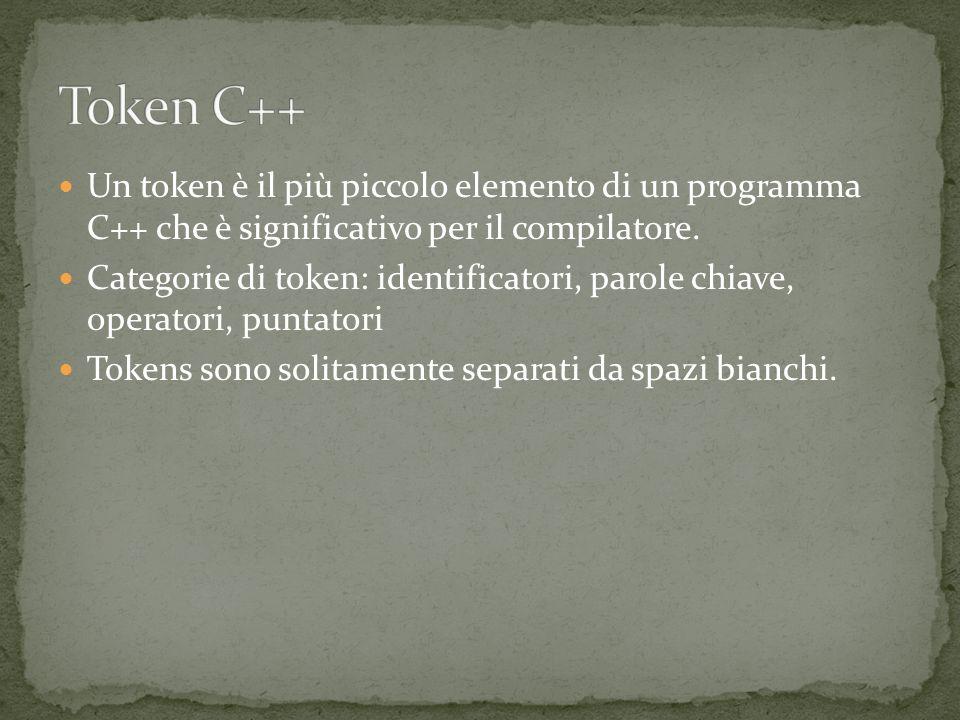 Un token è il più piccolo elemento di un programma C++ che è significativo per il compilatore.