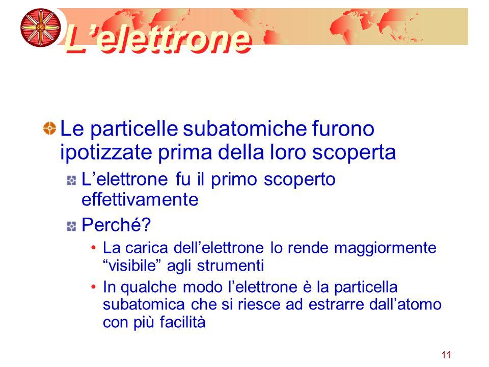 11 Lelettrone Le particelle subatomiche furono ipotizzate prima della loro scoperta Lelettrone fu il primo scoperto effettivamente Perché? La carica d