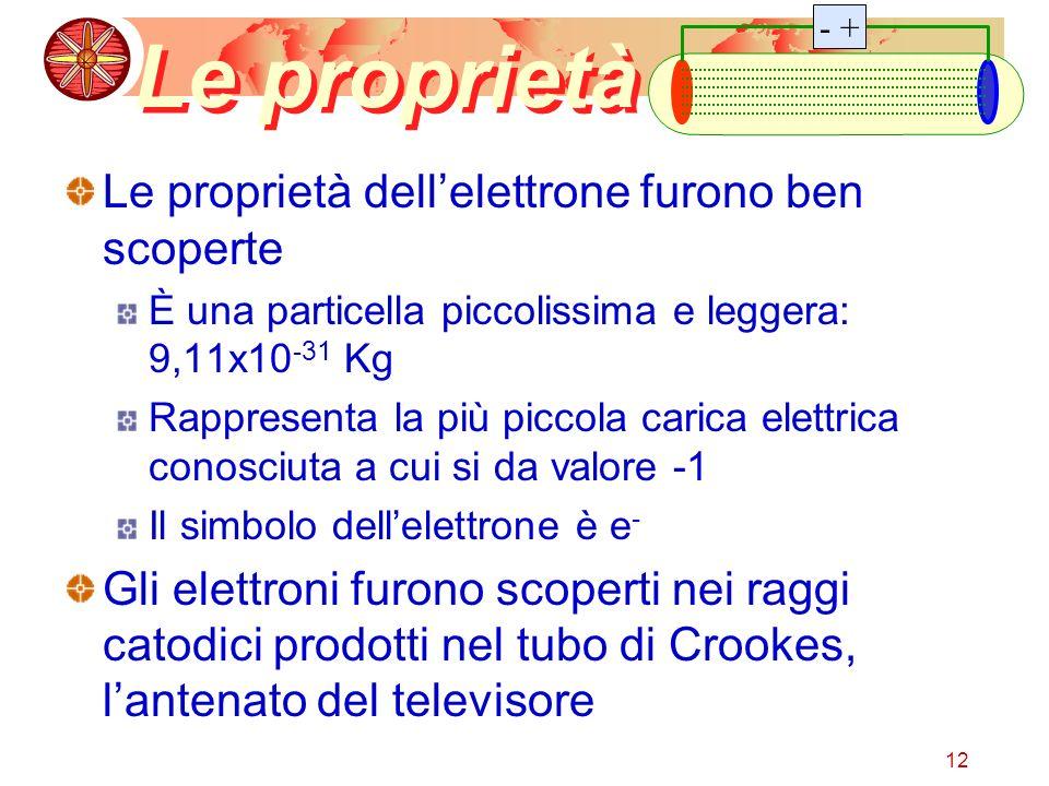 12 Le proprietà Le proprietà dellelettrone furono ben scoperte È una particella piccolissima e leggera: 9,11x10 -31 Kg Rappresenta la più piccola cari
