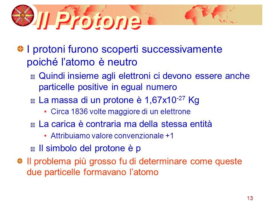 13 Il Protone I protoni furono scoperti successivamente poiché latomo è neutro Quindi insieme agli elettroni ci devono essere anche particelle positiv