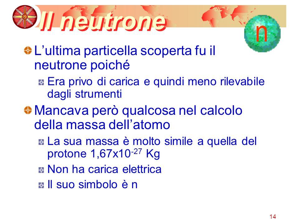 14 Il neutrone Lultima particella scoperta fu il neutrone poiché Era privo di carica e quindi meno rilevabile dagli strumenti Mancava però qualcosa nel calcolo della massa dellatomo La sua massa è molto simile a quella del protone 1,67x10 -27 Kg Non ha carica elettrica Il suo simbolo è n n
