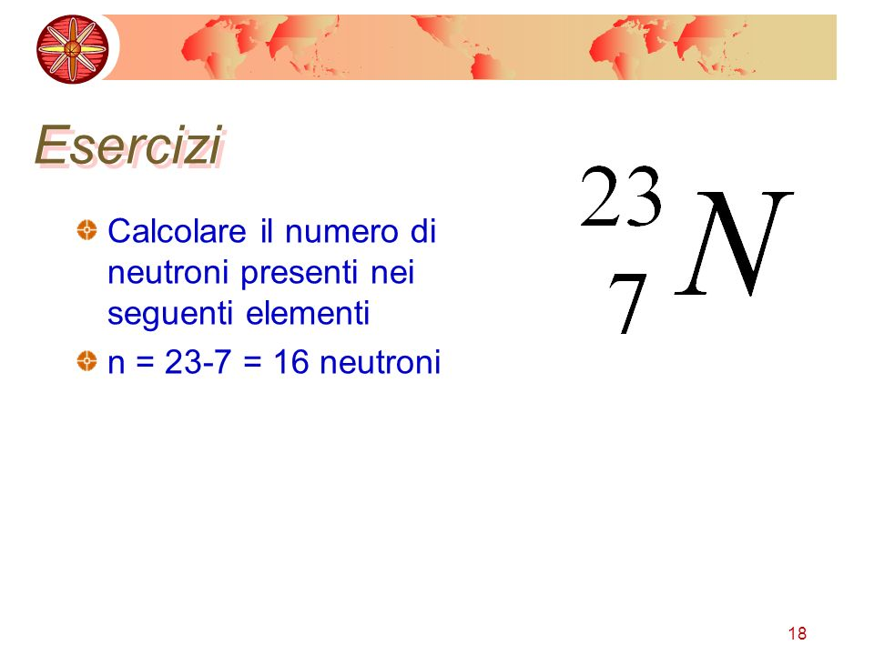 18 Esercizi Calcolare il numero di neutroni presenti nei seguenti elementi n = 23-7 = 16 neutroni