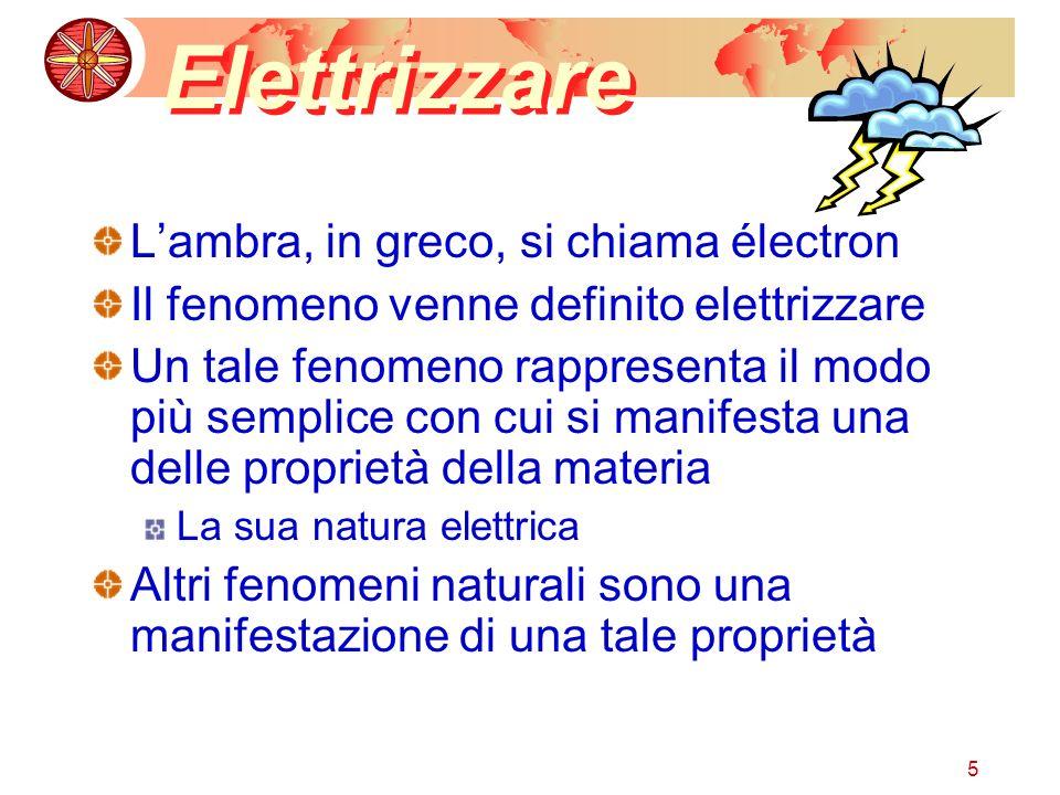 5 Elettrizzare Lambra, in greco, si chiama électron Il fenomeno venne definito elettrizzare Un tale fenomeno rappresenta il modo più semplice con cui si manifesta una delle proprietà della materia La sua natura elettrica Altri fenomeni naturali sono una manifestazione di una tale proprietà