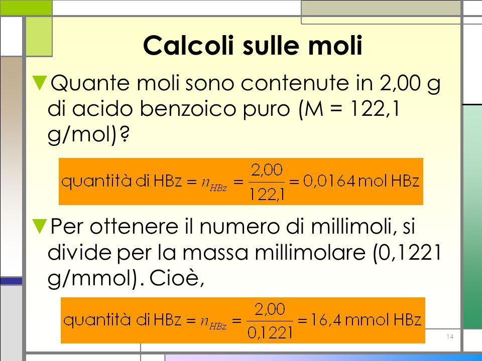 14 Calcoli sulle moli Quante moli sono contenute in 2,00 g di acido benzoico puro (M = 122,1 g/mol)? Per ottenere il numero di millimoli, si divide pe