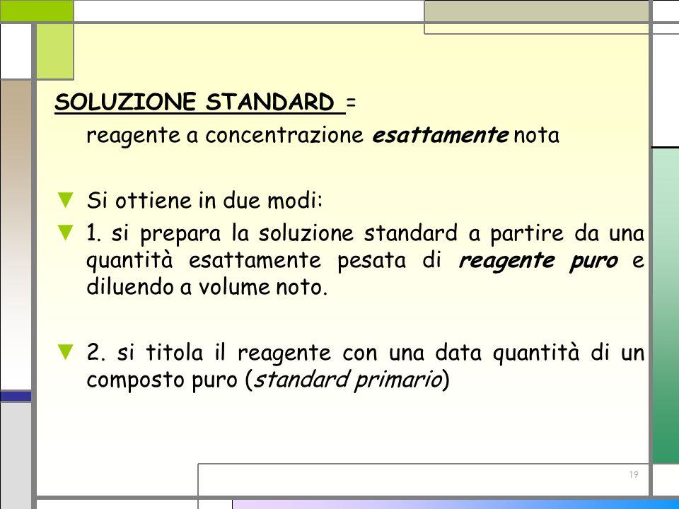19 SOLUZIONE STANDARD = reagente a concentrazione esattamente nota Si ottiene in due modi: 1. si prepara la soluzione standard a partire da una quanti
