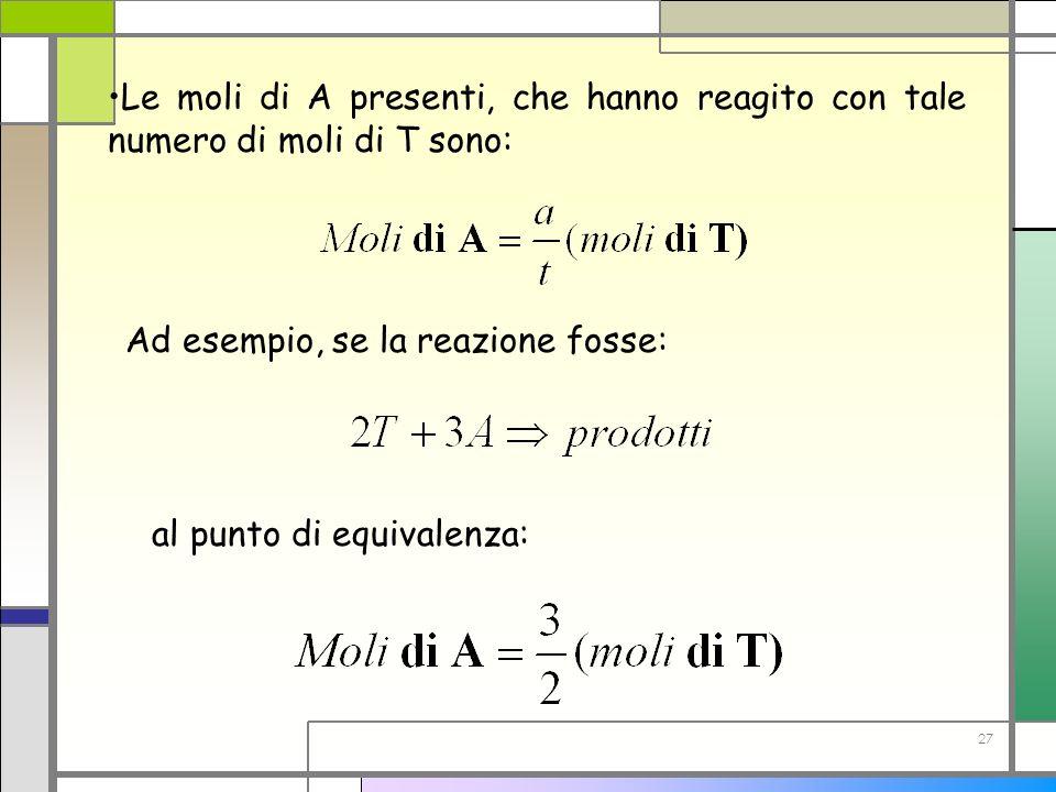 27 Le moli di A presenti, che hanno reagito con tale numero di moli di T sono: Ad esempio, se la reazione fosse: al punto di equivalenza: