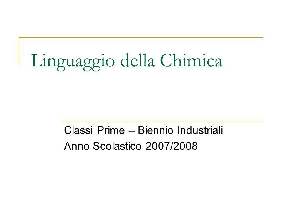 Linguaggio della Chimica Classi Prime – Biennio Industriali Anno Scolastico 2007/2008