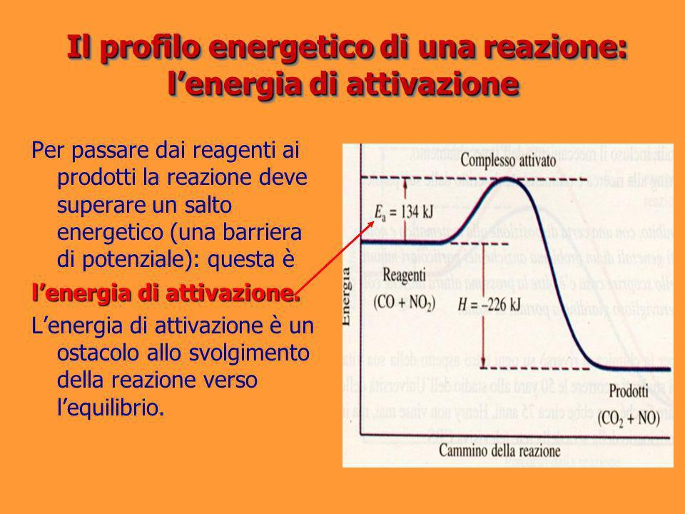 Per passare dai reagenti ai prodotti la reazione deve superare un salto energetico (una barriera di potenziale): questa è lenergia di attivazione. Len
