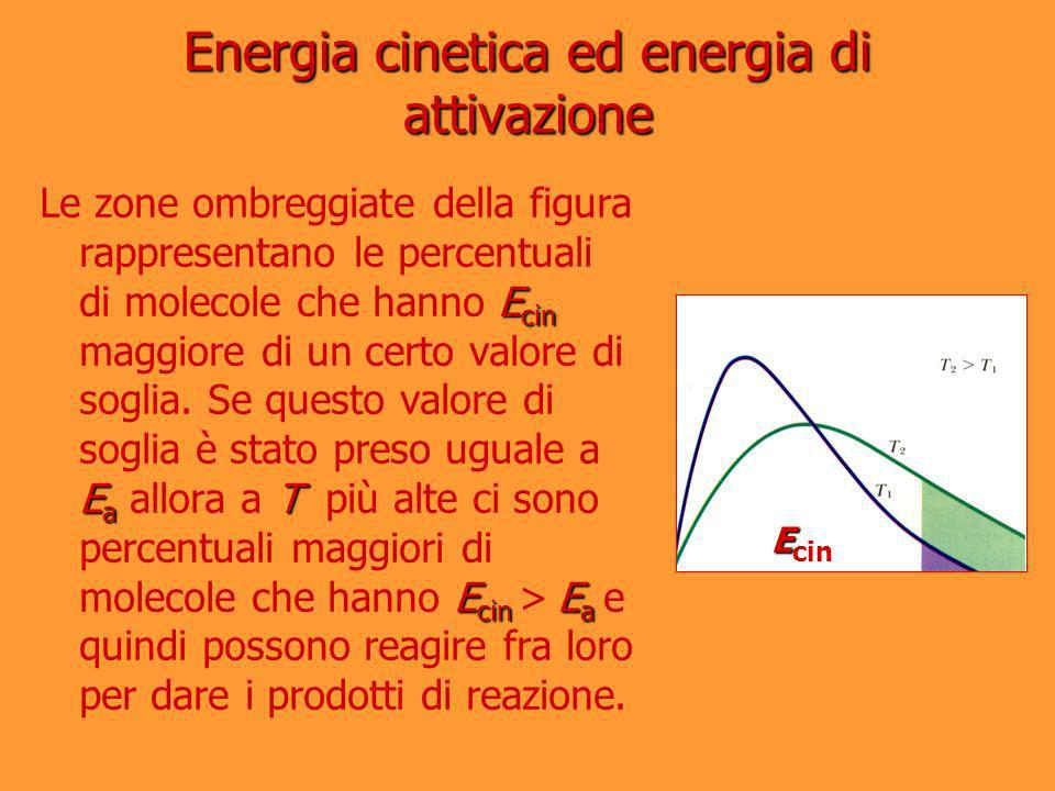 E cin E a T E cin E a Le zone ombreggiate della figura rappresentano le percentuali di molecole che hanno E cin maggiore di un certo valore di soglia.