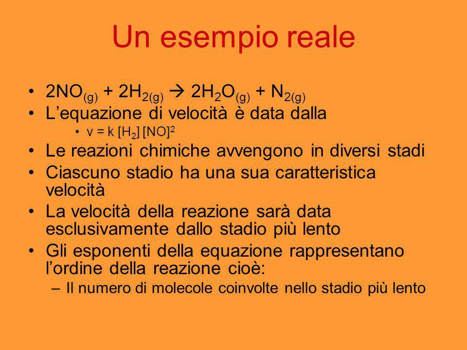Un esempio reale 2NO (g) + 2H 2(g) 2H 2 O (g) + N 2(g) Lequazione di velocità è data dalla v = k [H 2 ] [NO] 2 Le reazioni chimiche avvengono in diver