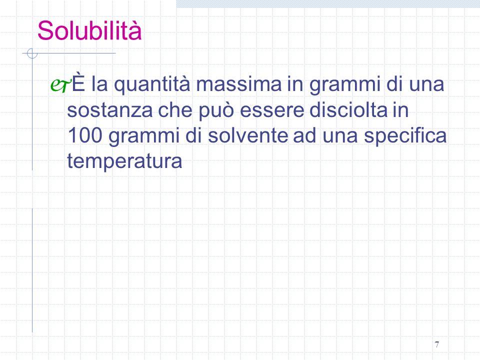 7 Solubilità È la quantità massima in grammi di una sostanza che può essere disciolta in 100 grammi di solvente ad una specifica temperatura