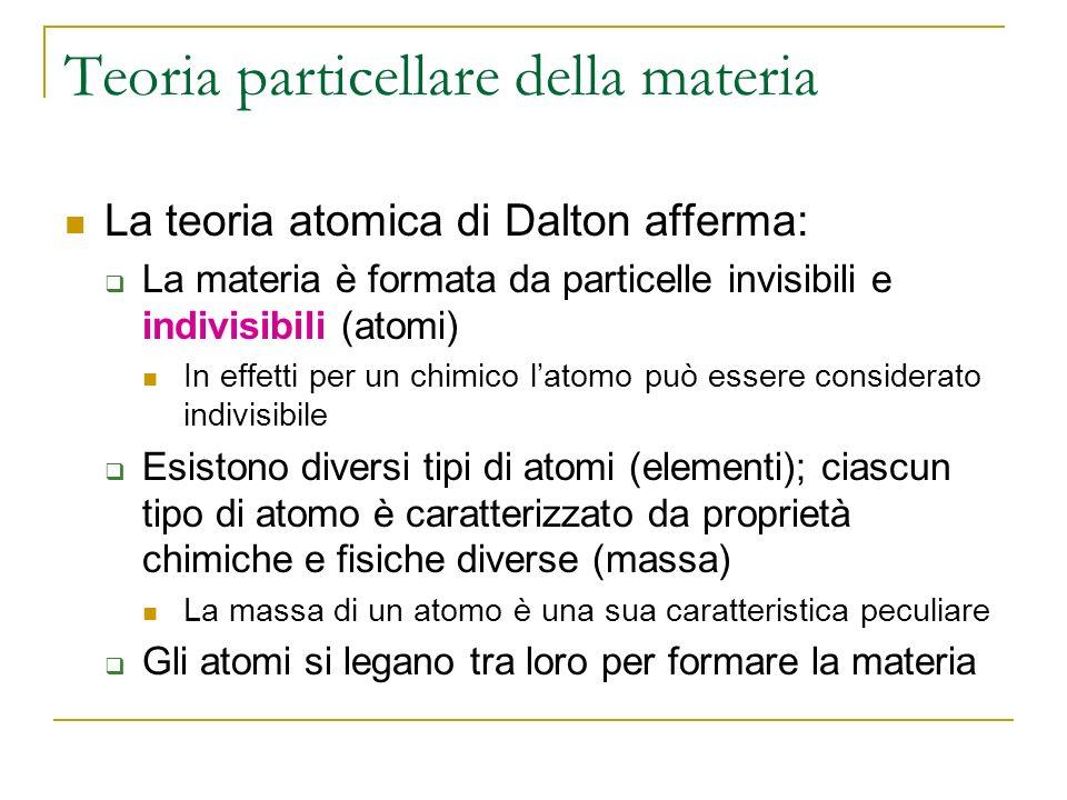 Teoria particellare della materia La teoria atomica di Dalton afferma: La materia è formata da particelle invisibili e indivisibili (atomi) In effetti per un chimico latomo può essere considerato indivisibile Esistono diversi tipi di atomi (elementi); ciascun tipo di atomo è caratterizzato da proprietà chimiche e fisiche diverse (massa) La massa di un atomo è una sua caratteristica peculiare Gli atomi si legano tra loro per formare la materia