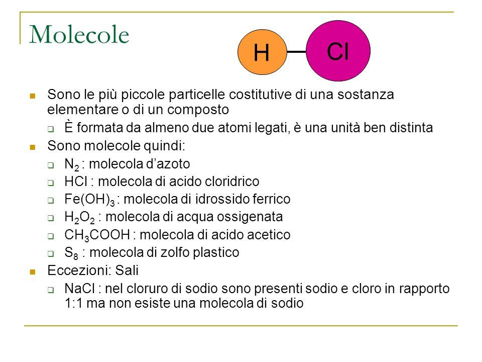 Molecole Sono le più piccole particelle costitutive di una sostanza elementare o di un composto È formata da almeno due atomi legati, è una unità ben distinta Sono molecole quindi: N 2 : molecola dazoto HCl : molecola di acido cloridrico Fe(OH) 3 : molecola di idrossido ferrico H 2 O 2 : molecola di acqua ossigenata CH 3 COOH : molecola di acido acetico S 8 : molecola di zolfo plastico Eccezioni: Sali NaCl : nel cloruro di sodio sono presenti sodio e cloro in rapporto 1:1 ma non esiste una molecola di sodio H Cl