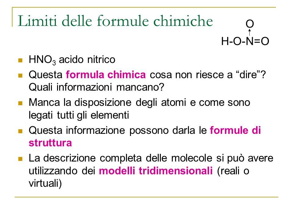 Limiti delle formule chimiche HNO 3 acido nitrico Questa formula chimica cosa non riesce a dire.