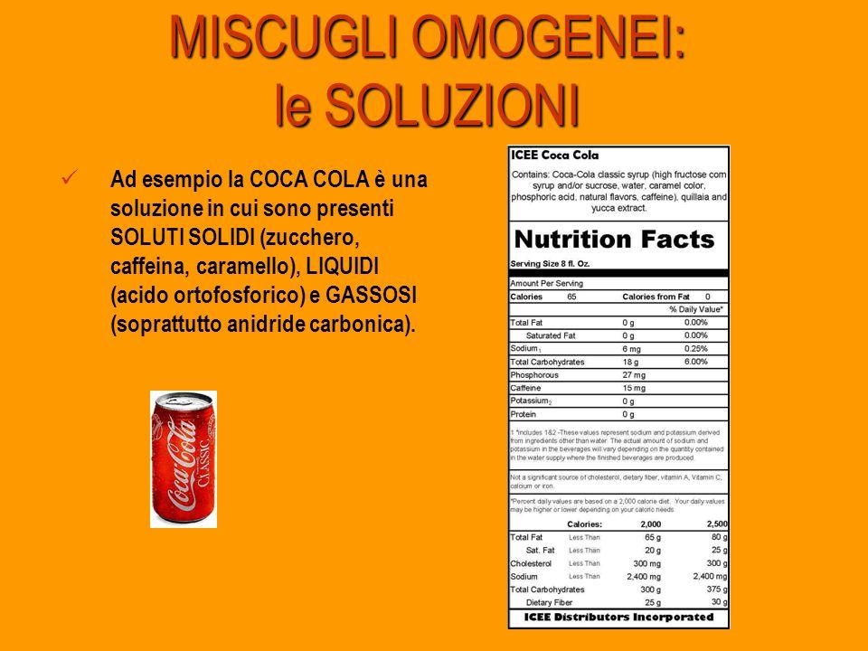 MISCUGLI OMOGENEI: le SOLUZIONI Ad esempio la COCA COLA è una soluzione in cui sono presenti SOLUTI SOLIDI (zucchero, caffeina, caramello), LIQUIDI (a