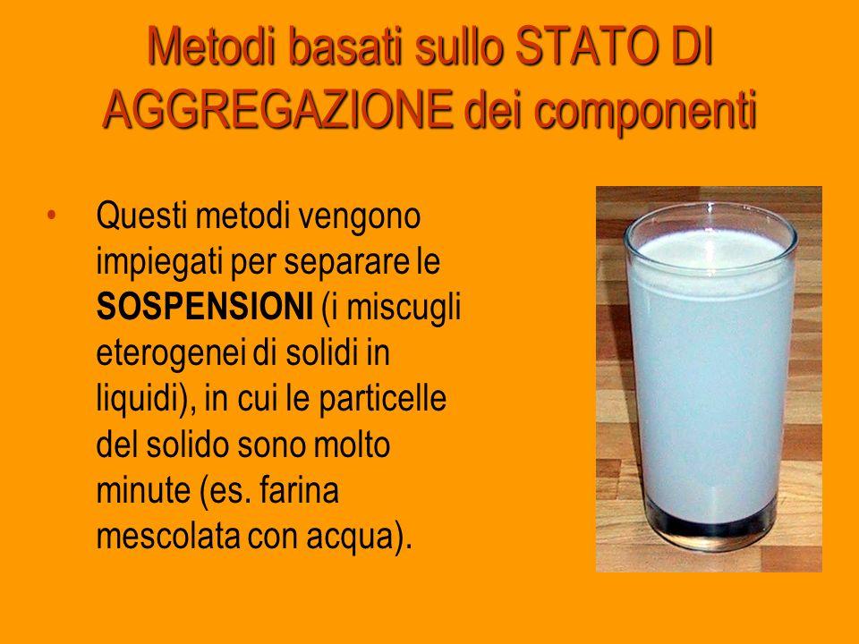 Metodi basati sullo STATO DI AGGREGAZIONE dei componenti Questi metodi vengono impiegati per separare le SOSPENSIONI (i miscugli eterogenei di solidi