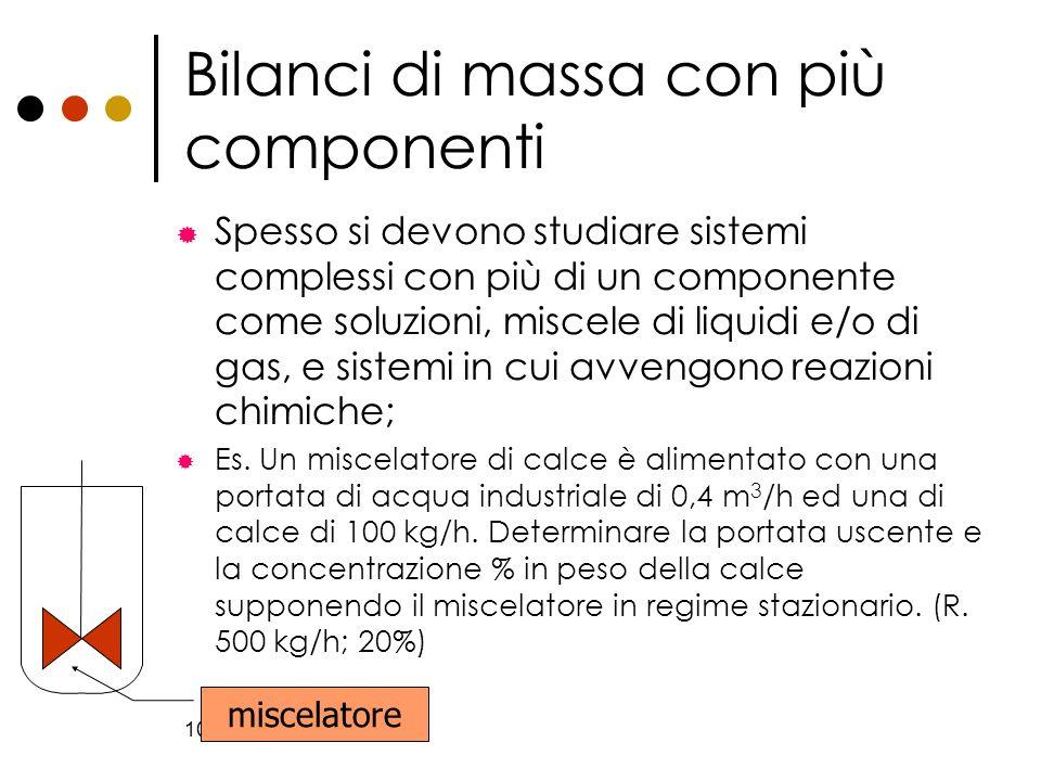 10 Bilanci di massa con più componenti Spesso si devono studiare sistemi complessi con più di un componente come soluzioni, miscele di liquidi e/o di
