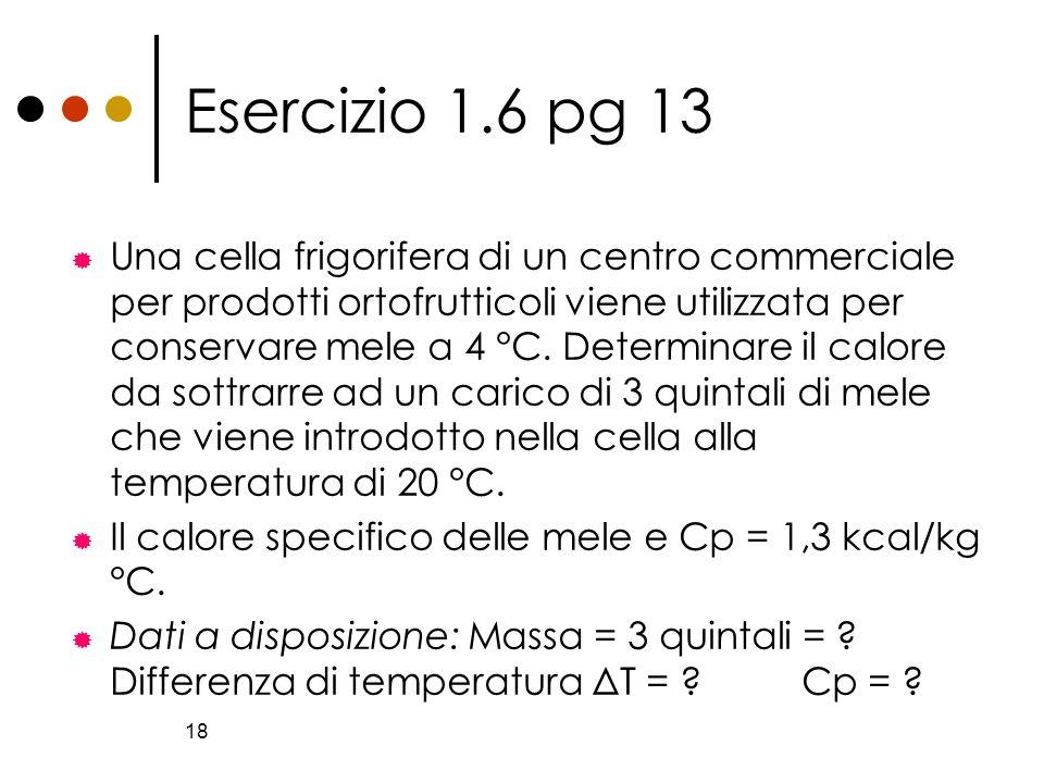 18 Esercizio 1.6 pg 13 Una cella frigorifera di un centro commerciale per prodotti ortofrutticoli viene utilizzata per conservare mele a 4 °C. Determi