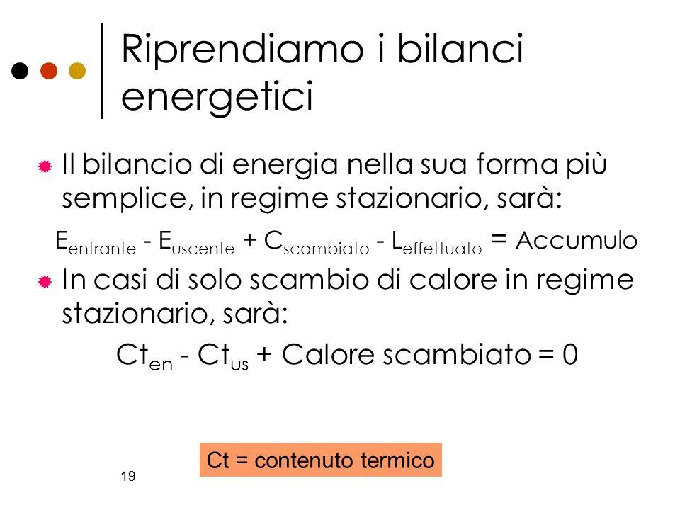 19 Riprendiamo i bilanci energetici Il bilancio di energia nella sua forma più semplice, in regime stazionario, sarà: E entrante - E uscente + C scamb