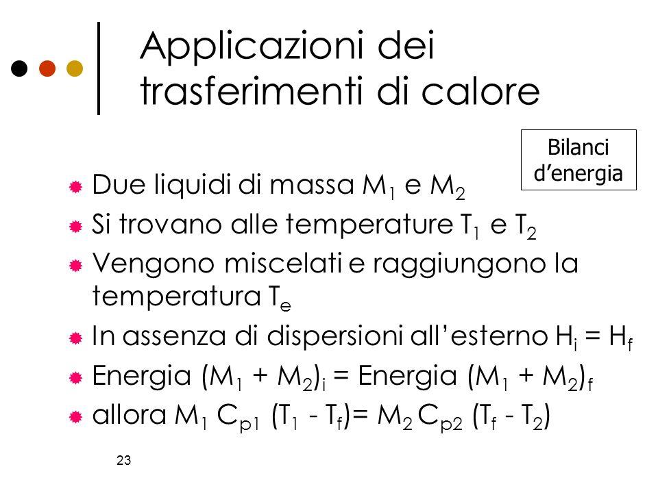 23 Applicazioni dei trasferimenti di calore Due liquidi di massa M 1 e M 2 Si trovano alle temperature T 1 e T 2 Vengono miscelati e raggiungono la te