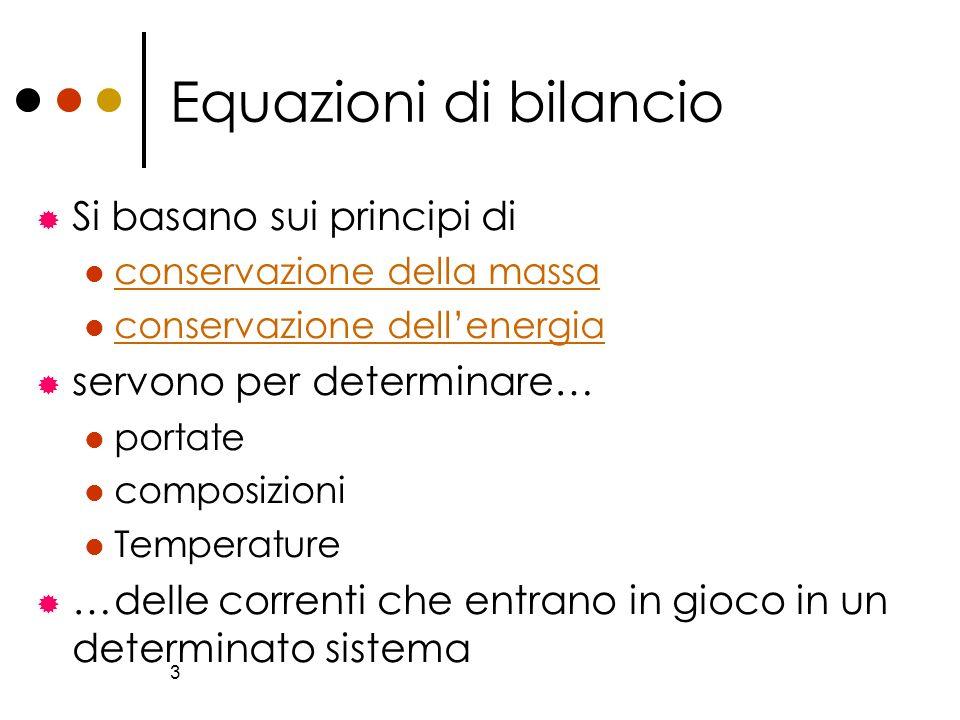 3 Equazioni di bilancio Si basano sui principi di conservazione della massa conservazione dellenergia servono per determinare… portate composizioni Te